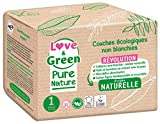 Love & Green Pure Nature - Pañales ecológicos sin blanquear T1 (2 – 5 kg)