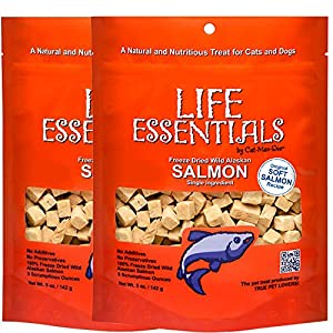 LIFE ESSENTIALS BY CAT-MAN-DOO All Natural Freeze Dried Wild Alaskan Salmon Treats for Cats & Dogs – Single Ingredient Grain Free Snack with No Additives or Preservatives, 5 Ounce Bag – 2 Pack