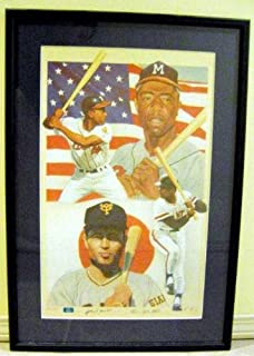 Hank Aaron & Sadaharu Oh autographed Lithograph (Milwaukee/Atlanta Braves & Yomiuri Giants Baseball Home Run Kings in America & Japan) 17x29 framed