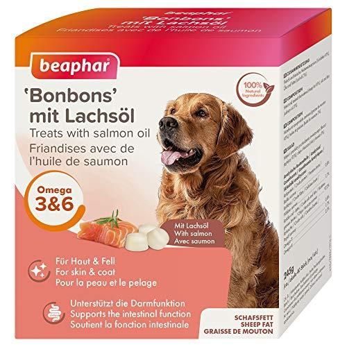 beaphar Lachsöl Bonbons für Hunde | Hunde-Leckerlies | Hunde Snacks mit Omega 3 6 9 | Zur Unterstützung der Darmflora | Ohne künstliche Zusatzstoffe | 245 g