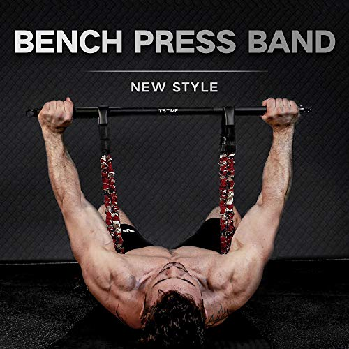 INNSTAR Adjustable Bench Press Band with Bar, Upgraded Push Up Resistance Bands, Portable Chest Builder Workout Equipment, Arm Expander for Home Workout,Gym,Fitness,Travel (Camo Fire Red-80LB)