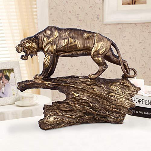 BENGKUI Skulptur,Europäische Antike Kupfertigerstatue Tierskulptur Figur Bürodekoration Heimdekoration Zubehör Moderne Kunst Geschäftsgeschenk