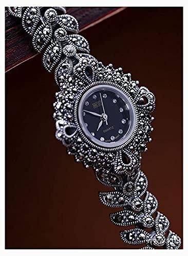 Reloj de Pulsera para Mujer Joyas de Plata esterlina 925 Chasis Negro Vintage Reloj para Mujer Longitud de la Cadena Aproximadamente 18,5 cm
