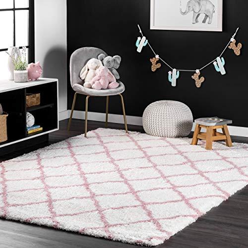 nuLOOM 200OZAS03B-406 Nelda Trellis Shag Rug, 4' x 6', Baby Pink