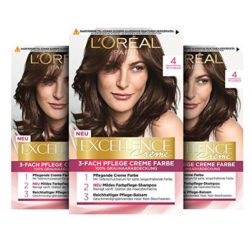 L'Oréal Paris Excellence Creme Permanente Haarfarbe, 100% Grauhaarabdeckung, Haarfärbeset mit Coloration, Shampoo und 3-fach Pflegecreme, 4 Mittelbraun, 3 x 268 g