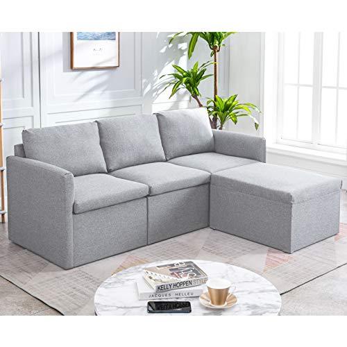 Pumpumly Sofá esquinero de 3 plazas, sofá de esquina izquierdo o derecho, sofá de tela en forma de L, con sofá otomano Morden para sala de estar, color gris claro