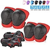 BOSONER Kids/Youth Knee Pad Elbow Pads Guards Protective Gear Set for Roller Skates Cycling BMX Bike Skateboard Inline Skatings Scooter Riding Sports (Black/red)