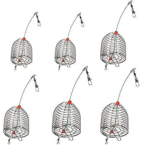 6 PCS Stainless Steel Carp Fishing Bait Trap Cage Feeder Basket Holder Coarse Lure Feeder Carp Fishing Accessories Tackle Kit-Trap Dia:3.5CM/4.0CM/4.6CM (Small+Medium+Large=6PCS)