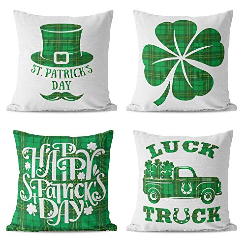 St Patricks Day Decorations Pillow Covers 18×18 Set of 4 for Irish Shamrock Home Decor Throw Pillows Cover Green Buffalo Plaid Truck Decorative Pillow Covers Lucky Clover Cotton Linen Cushion Case