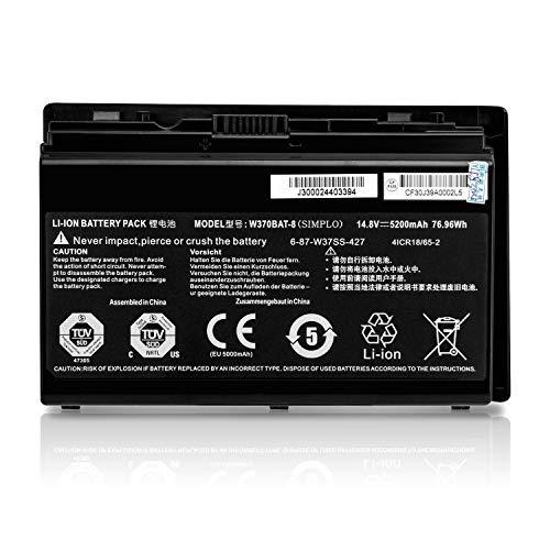 K KYUER 14.8V 5200mAh W370BAT-8 Laptop Akku für Clevo 6-87-W370S-4271 6-87-W37SS-427 6-87-W370S-427 6-87-W37ES-427 W370BAT-3 Series NP6350 W350ETQ W350ET P370EM NP6370 W355STQ W355SS Notebook Batterie