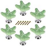 YAVSO Pomos y Tiradores, 6pcs Ceramica Pomos Armario Estrella de Mar Tiradores de Muebles para Cajones, Armario, Puertas, Alacena, Gabinete (Verdes)