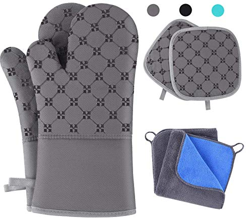 TAOSANHU Oven Mitts and Pot Holders Sets, Heat Resistant 500 Degrees Kitchen Gloves with 2 PCS Kitchen Towels & 2 PCS Hot Pot Holders, Non-Slip Surface
