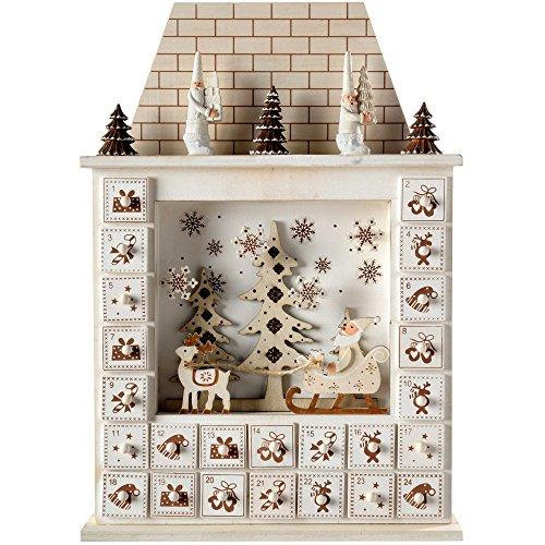 WeRChristmas–Calendario de Adviento de Navidad, casa de Papá Noel, de 40cm–Beige Natural