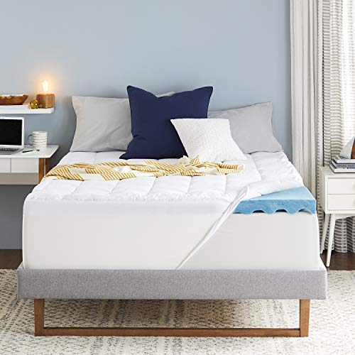 Sleep Innovations 4-inch Dual Layer Gel Memory Foam Mattress Topper, Ultra Soft Support, King, Made in The USA