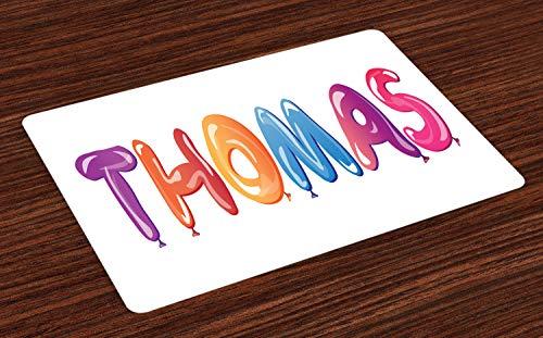 ABAKUHAUS Thomas Placemat Set van 4, Kleurrijke Common American Boy, Wasbare Stoffen Placemat voor Eettafel, Veelkleurig