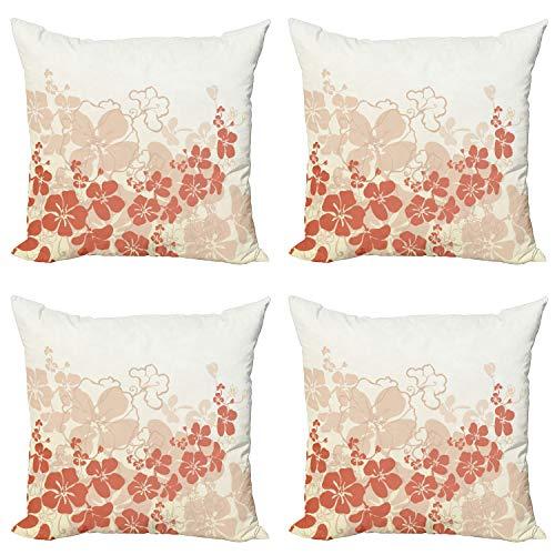 ABAKUHAUS Floral Set de 4 Fundas para Cojín, Hawaii Flores Tropicales, Estampado Digital en Ambos Lados y Cremallera, 40 cm x 40 cm, Fucsia White Salmon
