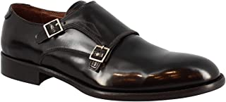 Leonardo Shoes Elegantes Zapatos Hechos a Mano con Doble Correa de Monje para Hombre en Piel de Becerro Negra - Número de ...
