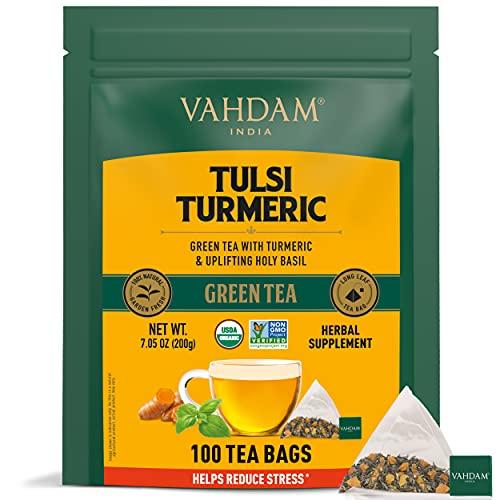 VAHDAM, Té Verde Orgánico Tulsi Cúrcuma (100 Bolsitas de Té) | Superalimentos de Ingredientes 100% Naturales | Té Vegano, Apto para Keto, Bajo en Calorías con Propiedades Antiinflamatorias