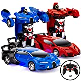 Best Choice Products Set of 2 1/18 Scale Interactive RC Remote Control Transforming Drifting Robot Sports Car Action Figure Toys w/ 1 Button Transformation, Light and Sounds