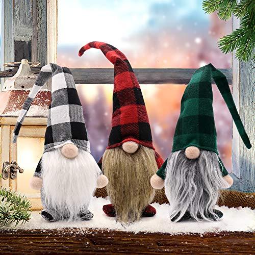 CiyvoLyeen Set of 3 Buffalo Plaid Swedish Santa Gnomes Winter Plush Elf Dwarf Handmade Tomte Nisse Tonttu Figurines Home Decoration 15 Inches