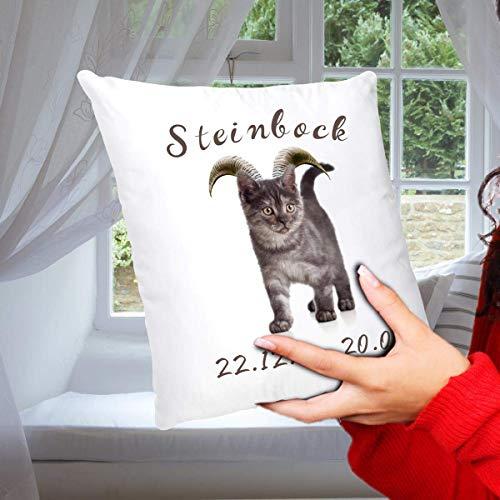 Geschenk Kissen Katze mit Sternzeichen Steinbock, lustiges Geschenk für Katzenliebhaber, Dekokissen Zierkissen inkl. Füllung 40x40 cm Weiß Grau