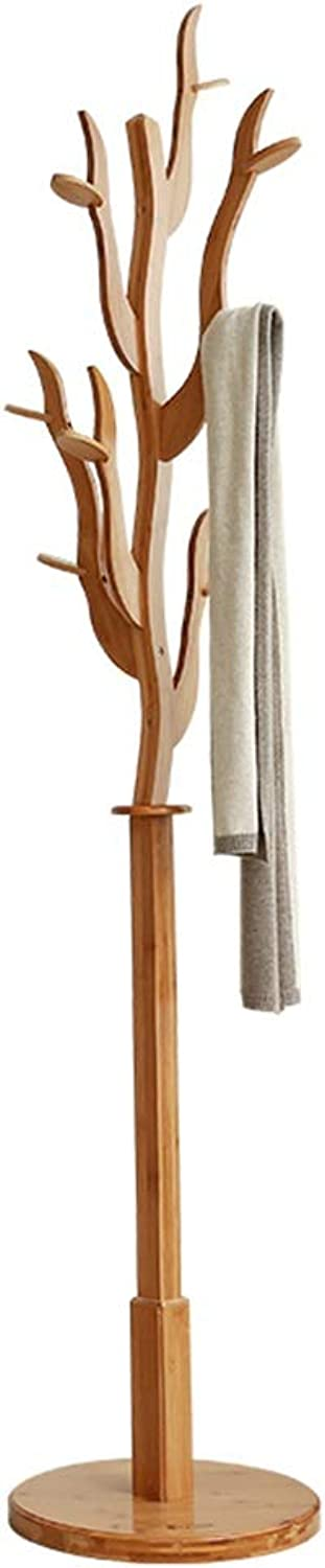 JIAYING Coat Rack,Bamboo Hat Stand Free Standing Display Hall Tree with Hooks Garment Storage Holder for Clothes Hats and Scarves