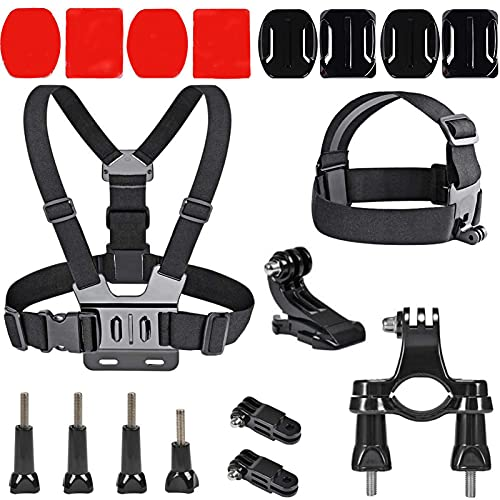 Kit di Accessori per Action Camera, 18PCS Accessori per Action Cam, Pettorina Gopro, Kit Gopro Accessori, Adesivi Gopro 3M, Accessori Action Cam Compatibile con GoPro Hero 9 8 Max 7 6 5 4 Black