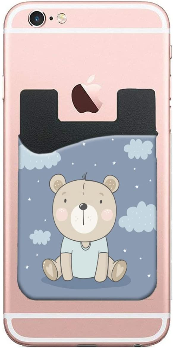 ZXZNC Card Holder for Back of Phone Cute Bear On Light Blue Leather Phone Pocket Phone Case Credit Business Id Card Holder Sleeve Adhesive Stick On Wallet for Back of Cell Mobile Smart Phone