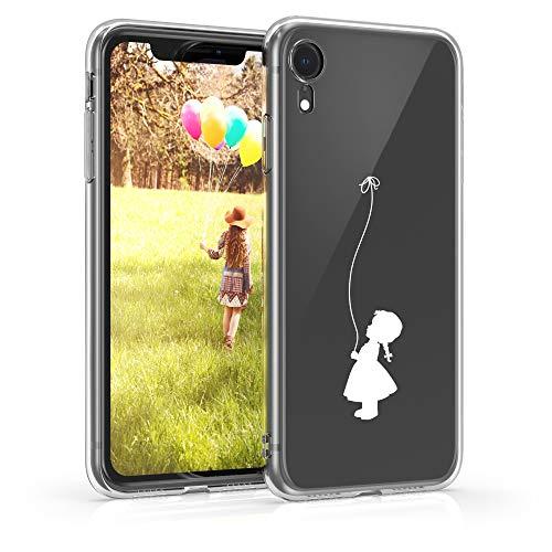 kwmobile Custodia Compatibile con Apple iPhone XR - Cover Silicone TPU - Protezione Back Case - Ragazza con Palloncino Bianco/Trasparente