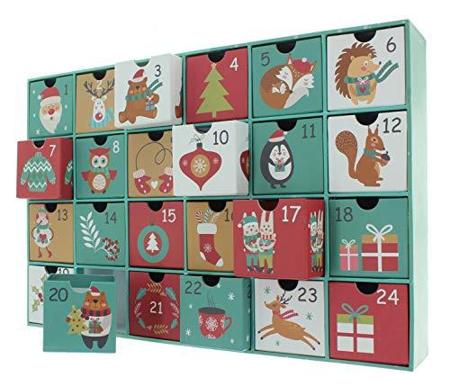 Adventskalender zum selbst Befüllen mit 24 Schubladen-Boxen, DIY-Weihnachtskalender Bastelset (38 x 26 x 6 cm, Zahlen & süße Motive)