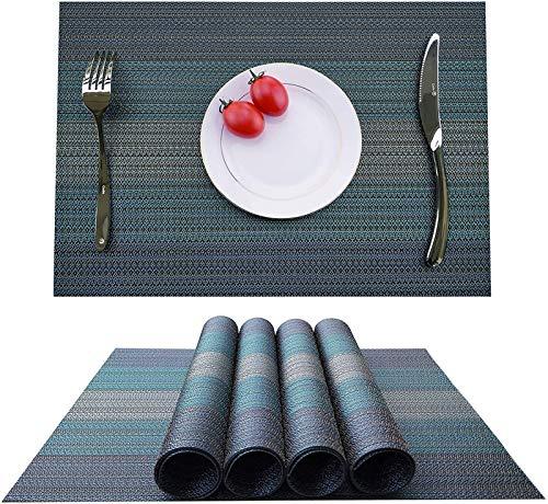 WUCHENG Home Küchentischset, hitzebeständige Tischset, Antifouling, Anti-Rutsch-waschbarer PVC Küchentisch Matten, Tischset, tischset (Color : Gray Blue, Size : Set of 8 placemats)