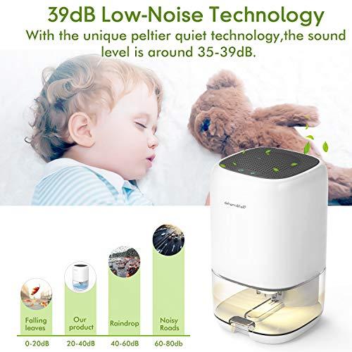 AUZKIN Small Dehumidifier for 2200 Cubic Feet (260 sq ft), 35oz(1000ml) Capacity Portable and Quiet Dehumidifiers for Basements, Home, Bedroom, Bathroom, Garage, Wardrobe, RV
