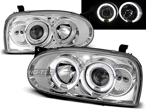 Shop Import Paire de Feux phares Golf 3 91-97 Angel Eyes Chrome 02