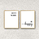 8 x 12 Inch Frame Wood Sign, Don't Worry Be Happy PRINTABLE Wall Art Bob Marley Quote Office Decor Nursery prints Inspirational Quotes Dorm Room Decor Song Lyricsset of 2 Wood Pallet Design Sign Plaque with Frame wooden sign
