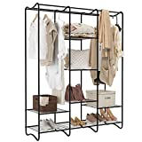 LANGRIA Large Free-Standing Closet Garment Rack Made of Sturdy Iron with Spacious Storage Space, 8 Shelves, Clothes Hanging Rods, Heavy Duty Clothes Organizer for Bedroom, Entryway (Black)