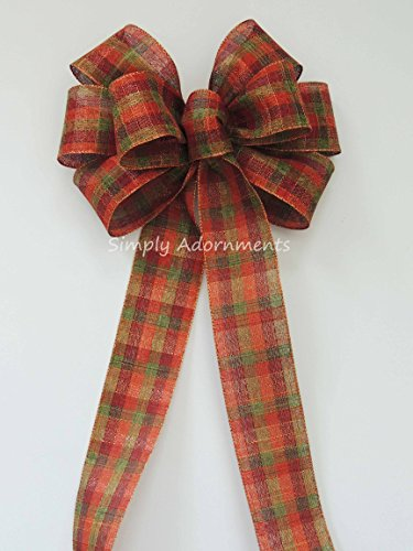 Rustic fall wreath bow Rustic Green Orange Brown fall Plaid Wedding Pew Bow oVineyard Wedding Bow Fall tartan Church Bow Thanksgiving Ceremony Chair Bow