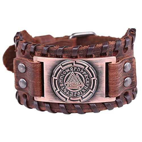 VASSAGO Pulsera Cuero marrón símbolo Odin's 24 runas
