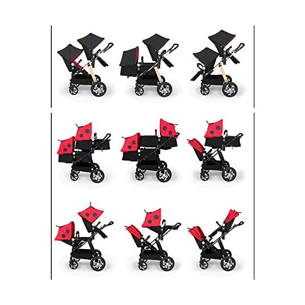 JXCC Double Strollers Baby Pram Tandem Buggy Newborn Pushchair Ultra Light Folding Child Shock Absorber Trolley Can Sit Half Lying 0-3 years old(Maximum loadable 50Kg baby) -Safe And Stylish A JXCC 1. {Four seasons can be} - The awning can be adjusted to multiple angles to easily cope with the sun, keep the baby warm in winter, and keep the windproof feet 2. {Multi-angle adjustable seat}: The seat can be adjusted between 0 and 175 degrees. The baby can sit and play, can lie flat, can lie down and drink milk, suitable for all occasions. Meet the needs of 0-3 year old baby. 3. {Multiple shock absorption design} - Rear wheel, two-wheel brake, wheel spring shockproof, baby is very safe 5