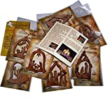 Holy Land Market Olive Wood Ornaments - Mix (Set of 12 Flat Ornaments) with Nativity Story Booklet