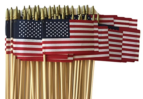 Lot of -50-4x6 Inch Double Sided US American Hand Held Stick Flags Spear Top WindStrong Made in the USA
