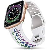 epova sport cinturino in silicone compatibile con apple watch 40mm 38mm, traspirante cinturini di ricambio per iwatch se series 6 5 4 3 2 1, bianco/arcobaleno, piccolo
