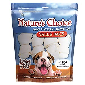 Loving Pets Nature'S Choice 100-Percent Natural Rawhide White Knotted Bones Value Pack Dog Treat, 4-5-Inches, 7/Pack
