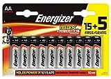Energizer - Pack de 20 Pilas alcalinas MAX LR6 AA, 50% más de Rendimiento, 1.5V