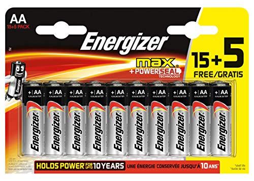 Energizer MAX LR6 AA Alkaline Batterien, 50% mehr Leistung, 1,5 V, 20 Stück