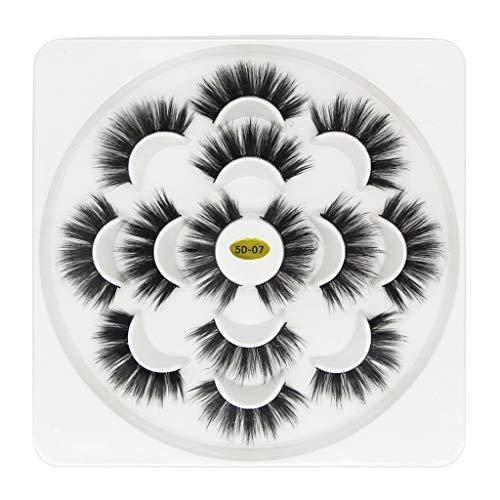 7 paire Natural 5D Faux Cils, BZLine Ultra-minces de Fibre Réutilisables Longues Faux cils Femme