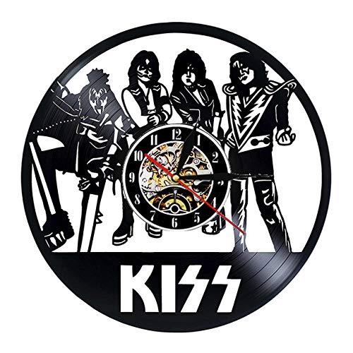 SKYTY Reloj de pared de vinilo con banda de rock, retro, con grabación de vinilo, banda de reloj de pared 3D, regalo de abanico, decoración del hogar, 5_sin luz LED de 30,48 cm