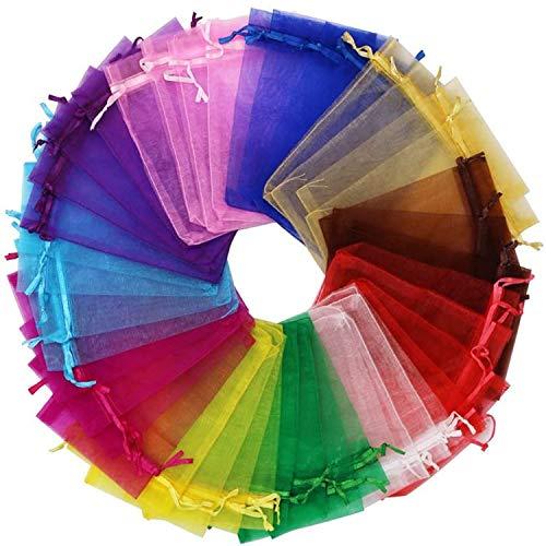 100 bolsas de organza multicolor, para regalo, decoración de bodas, joyas, Navidad, caramelos