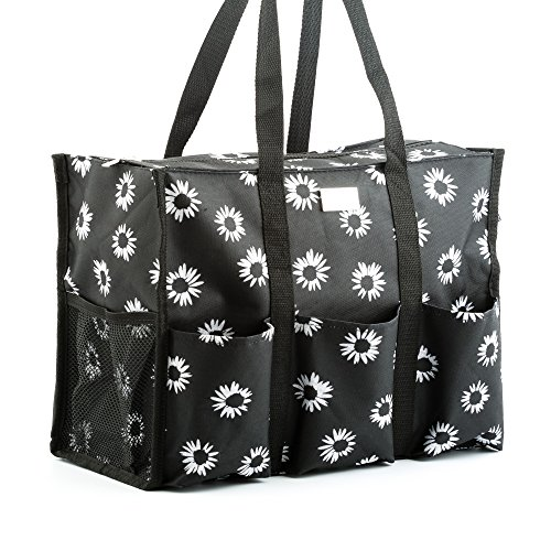 Pursetti Zip-Top Organizing Utility Tote Bag with Multiple Exterior & Interior Pockets for Working Women  Nurses  Teachers and Soccer Moms (Black Daisy)