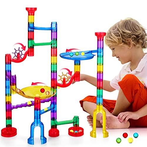 Ucradle kugelbahn, Mehrfarbige Murmelbahn mit 91 Teilen, Murmelbahn mit Glasmurmeln und Bahnelementen, Marble Run Kinder Lernspielzeug Konstruktionsspielzeug für Jungen Mädche kugelbahn ab 4+ Jahre