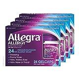 Allegra Allergy Gelcaps 24 Gelcaps per Bottle (Pack of 4), Long-Lasting Fast-Acting Antihistamine for Noticeable Relief from Indoor and Outdoor Allergy Symptoms